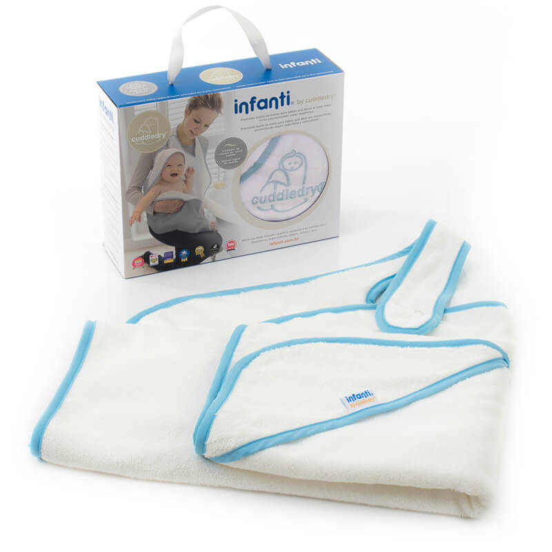 Toalha Cuddledry Infanti White Blue Trim
