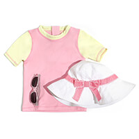 Camiseta Manga Curta Feminina Infanti Rosa e Amarelo - TAM1