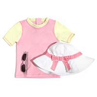Camiseta Manga Curta Feminina Infanti Rosa e Amarelo